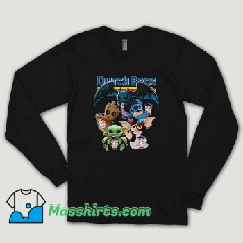 Dutch Bros Coffee Baby Yoda Groot Stitch Toothless And Gizmo Long Sleeve Shirt