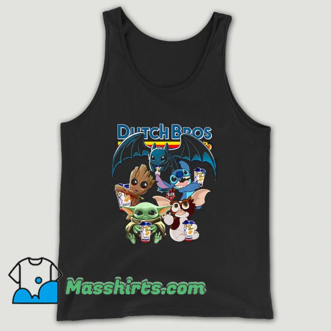 Dutch Bros Coffee Baby Yoda Groot Stitch Toothless And Gizmo Unisex Tank Top