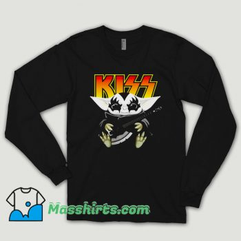 Hot Baby Yoda Hug Kiss Guitar Long Sleeve Shirt