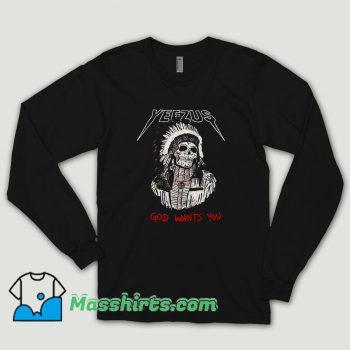 Red Indian Skeleton Yeezus Tour Long Sleeve Shirt
