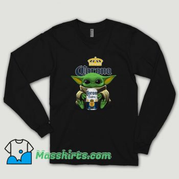 Star War Baby Yoda Hug Corona Extra Beer Long Sleeve Shirt