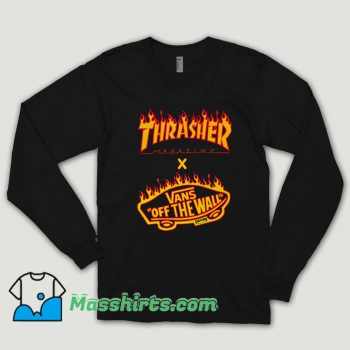 Thrasher X Vans Flame Collaboration Long Sleeve Shirt