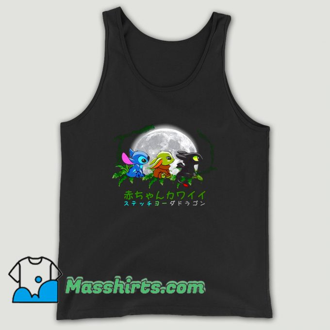 Trio Baby Baby Yoda Stitch And Toothless Unisex Tank Top