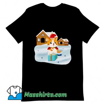 Christmas Night Cute Cat T Shirt Design