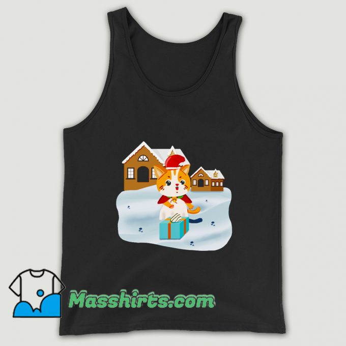 Official Christmas Night Cute Cat Tank Top
