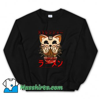 Cool Ghostly Cat and Ramen Sweatshirt