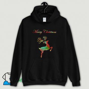 Merry Christmas Reindeer Silhouette Hoodie Streetwear