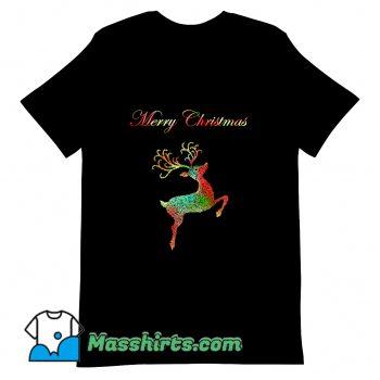 Funny Merry Christmas Reindeer Silhouette T Shirt Design