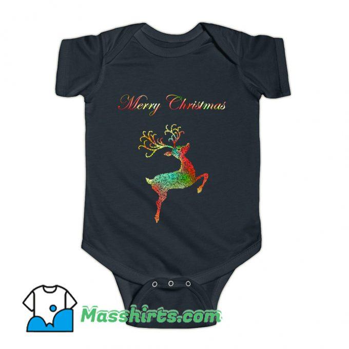 Merry Christmas Reindeer Silhouette Baby Onesie