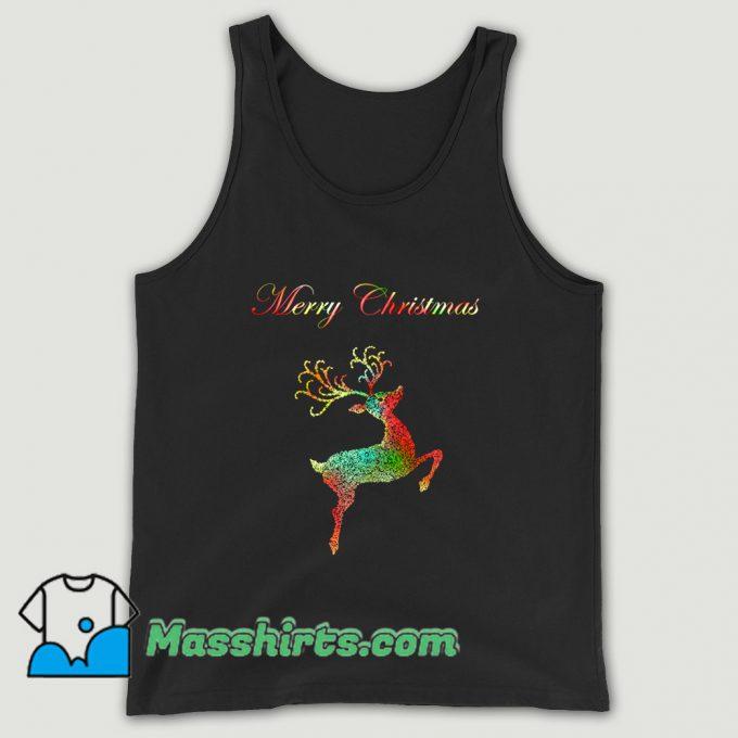 Merry Christmas Reindeer Silhouette Tank Top