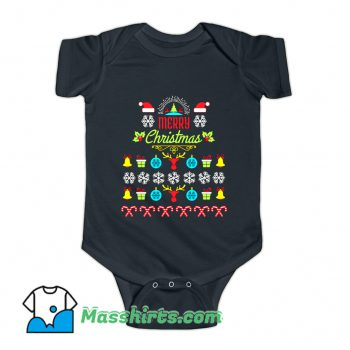 Merry Christmas Ugly Sweater Baby Onesie