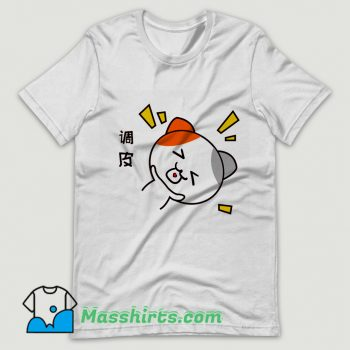 Funny Comic Naughty Little Cat T Shirt Design
