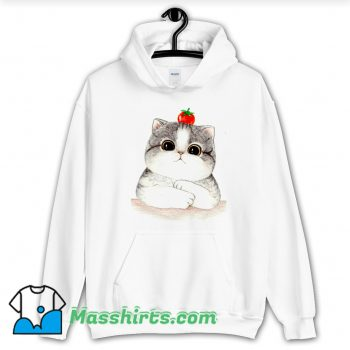 Relaxing Cute Cat Tomato Hoodie Streetwear