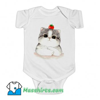 Relaxing Cute Cat Tomato Baby Onesie