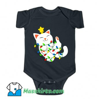 White Christmas Kitty Baby Onesie