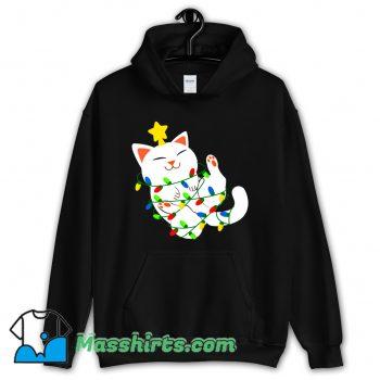 Cute White Christmas Kitty Hoodie Streetwear