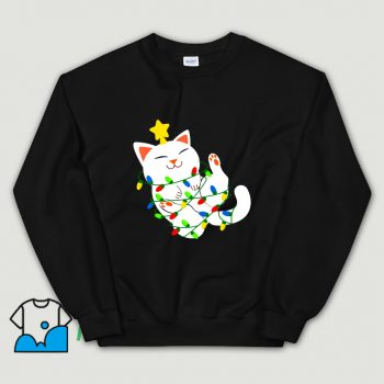 Funny White Christmas Kitty SweatshirtFunny White Christmas Kitty Sweatshirt
