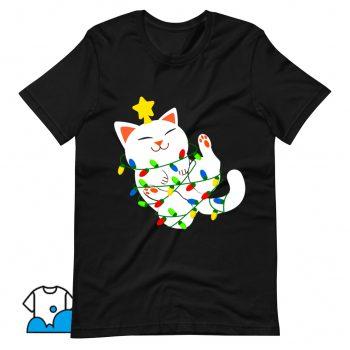 Classic White Christmas Kitty T Shirt Design