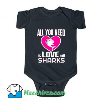 All You Need Is Love & Sharks Baby Onesie