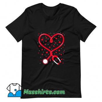 Nurse Valentine Day Heart Stethoscope T Shirt Design
