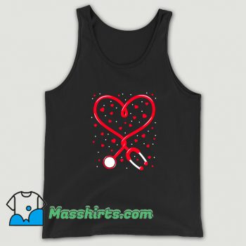 Nurse Valentine Day Heart Stethoscope Tank Top