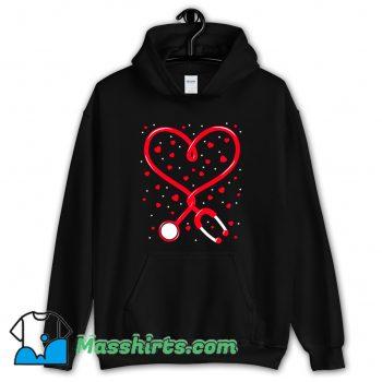 Nurse Valentine Day Heart Stethoscope Hoodie Streetwear