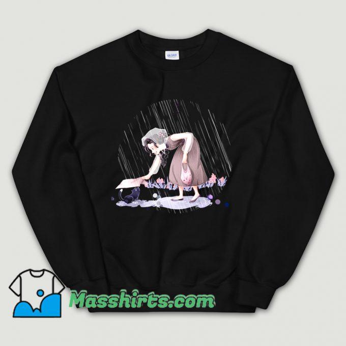 Cartoon Comic Rainy Day Cat Sweatshirt