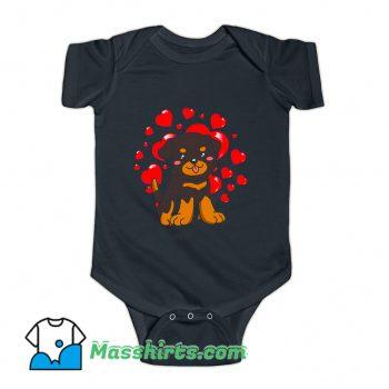 Rottweiler Dog Valentines Day Baby Onesie