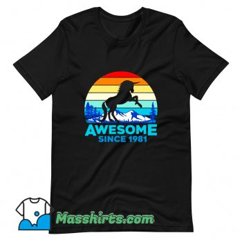 Vintage Unicorn Awesome Since 1981 Graphic T Shirt Design