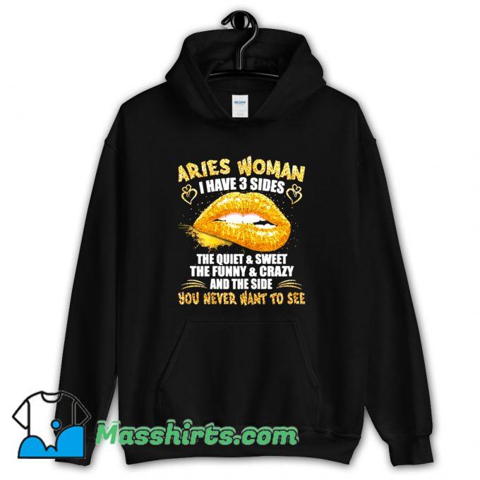 Aries Birthday Golden Lips Zodiac Hoodie Streetwear