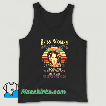 Awesome Aries Woman With Three Sides Tank Top