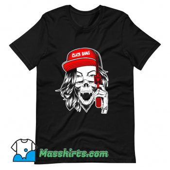 Cool Gangster Girl Click Bang Gun T Shirt Design