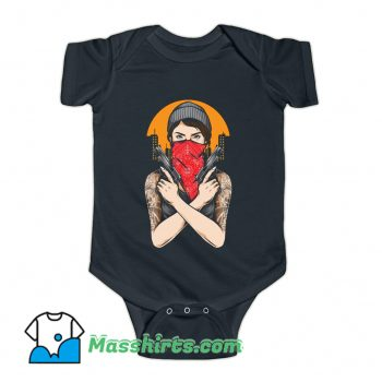 Gangster Girl Holding Gun Vector Baby Onesie