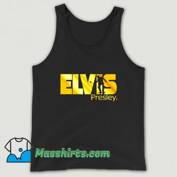 Gold Print King Rock Music Elvis Presley Tank Top
