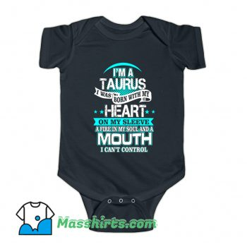 I Am A Taurus All Over Heart Baby Onesie