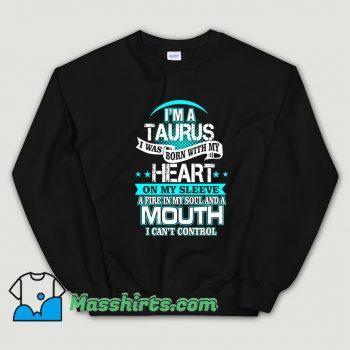 Cute I Am A Taurus All Over Heart Sweatshirt