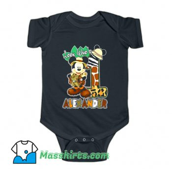 Look Who Mickey Birthday Safari Baby Onesie
