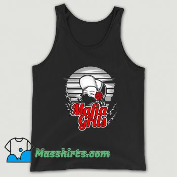 Awesome Mafia Girl and Rose Hand Tank Top