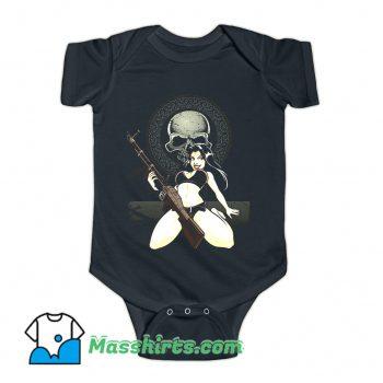 Sexy Bikini Rebel Black Skull Baby Onesie