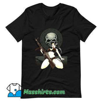 Vintage Sexy Bikini Rebel Black Skull T Shirt Design