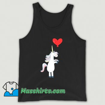Awesome Unicorn Balloon Love Heart Tank Top