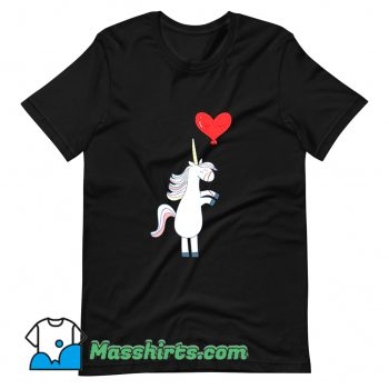 Unicorn Balloon Love Heart T Shirt Design On Sale