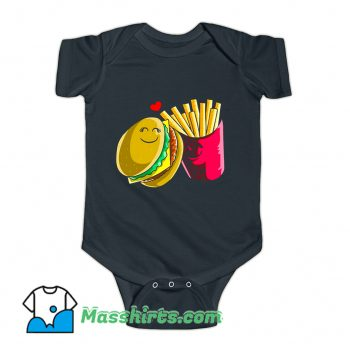 Valentines Day Cheeseburger Fries Baby Onesie
