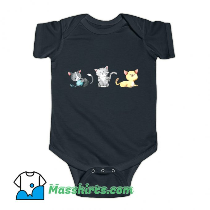 3 Cute Kittens Are Playing Baby Onesie