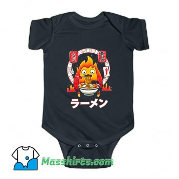 Calcifer Eat A Bowl Of Spicy Ramen Baby Onesie