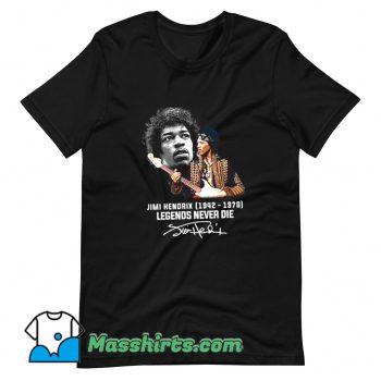 Jimi Hendrix Legends Never Die Signatures T Shirt Design