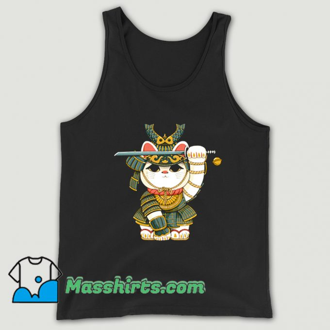 Funny Lucky Cat Samurai Tank Top