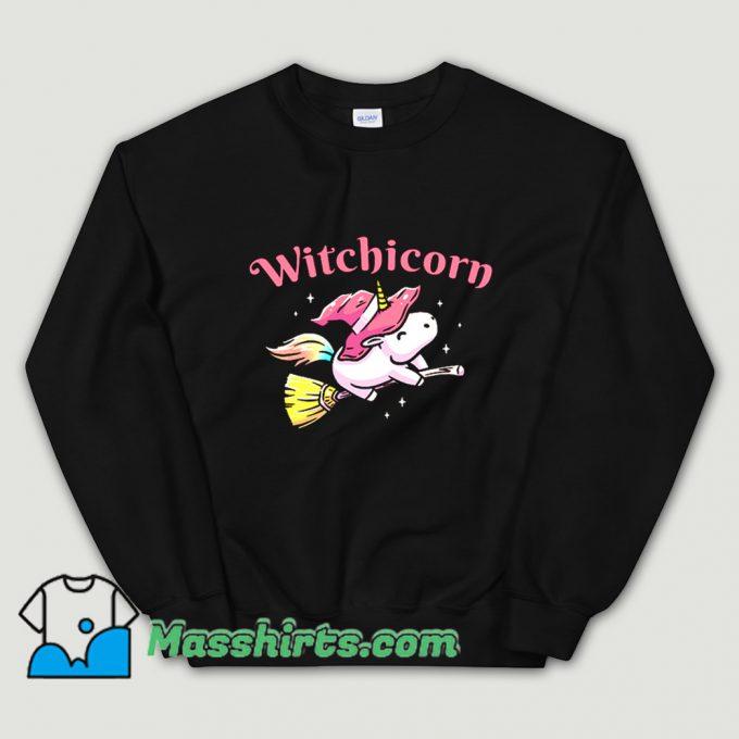 Cool Witchicorn Flying Using A Magic Broom Sweatshirt