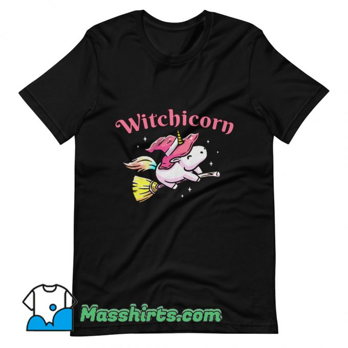 Witchicorn Flying Using A Magic Broom T Shirt Design