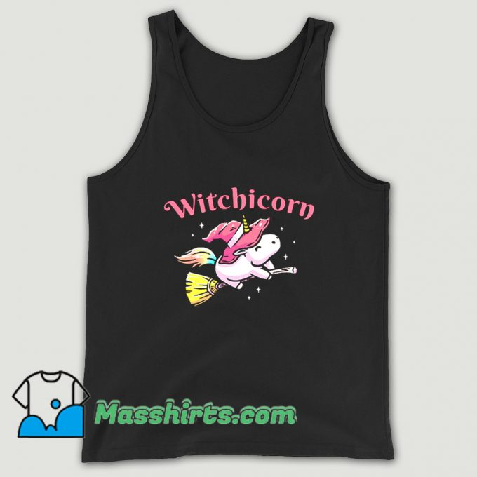 Witchicorn Flying Using A Magic Broom Tank Top